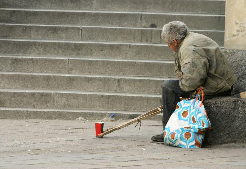 homeless disabled man